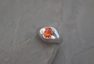 LRS0029 orange garnet palladium ring1675